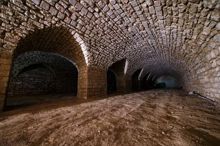 dirt: Long underground brick old tunnel
