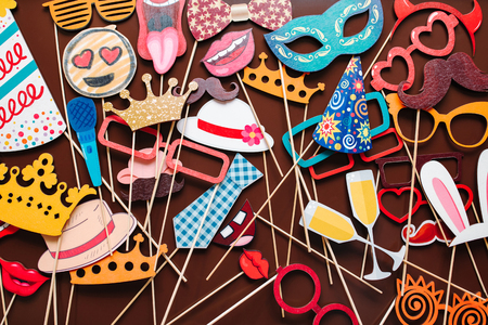 Set of photo accessories for wedding and birthday parties