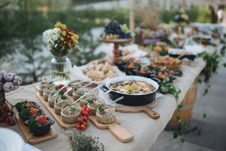 Outdoors fourchette table with traditional moldavian appetizers and fresh flowers