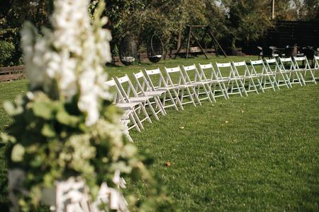 Closeup shot of the rusti� wedding decoration elements  at daylight