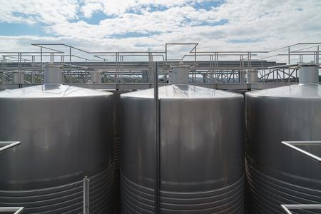 Wine factory tanks outside
