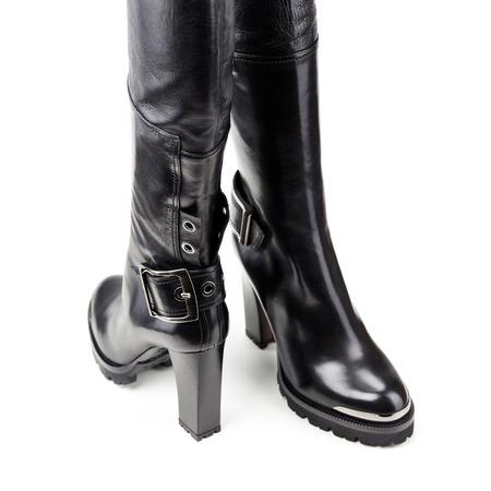 Studio shot of high female winter boots