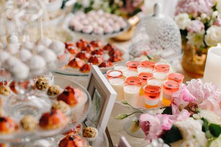 Closeup shot of a wedding candy bar decoration elements