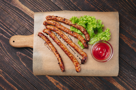 Grilled sausages with ketchup Stockfoto