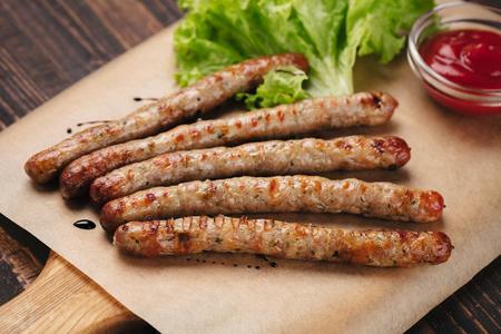 Grilled sausages with ketchup Zdjęcie Seryjne