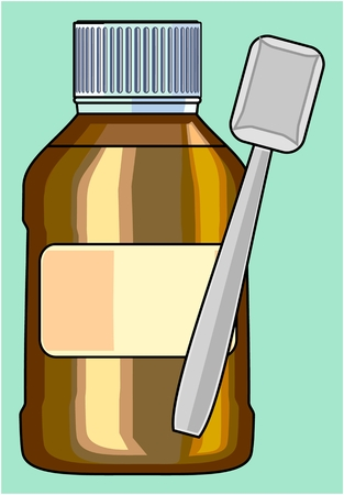 SMALL BOTTLE FOR MEDICINE Capacity for liquid medicinal matters Illustration