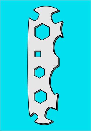 Llave de herramienta de patrón universal para apretar tuercas y pernos.