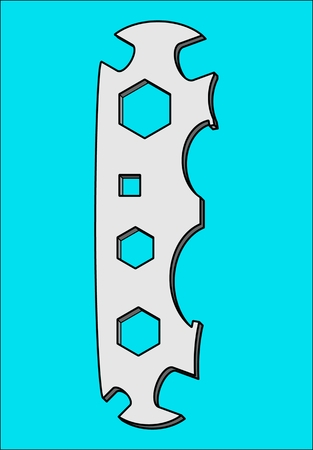 Wrench universal pattern tool for tightening nuts and bolts. Illustration