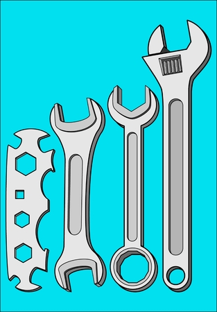 tightening: KEYS WRENCHES TOOL tool for tightening nuts and bolts Illustration