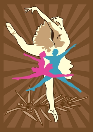 BALLET ICON Abstract color vector icon for designating a ballet Illustration