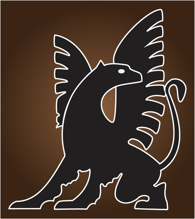 GRIFON ICON ?olor vector image of a fantastic mythological winged creature with a lions body