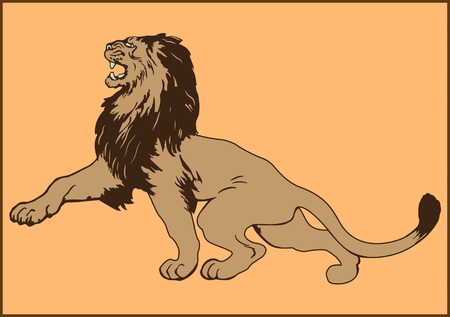 Colored vector image of a lion Иллюстрация
