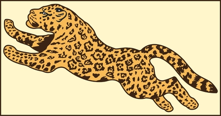 LEOPARD ANIMAL Color vector image of a leopard of a predatory animal Иллюстрация