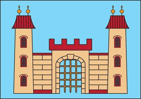 Ilustración medieval del vector del castillo en fondo azul. Foto de archivo - 85060747