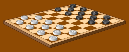 CHECKERS GAME color vector image of intellectual board game Çizim