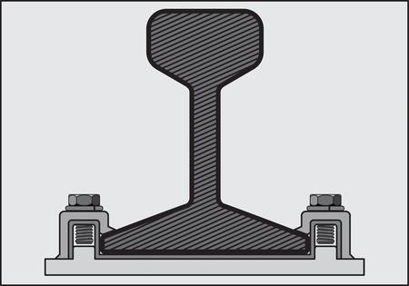 留め具、灰色の背景に鉄道レールのレール パターンの黒と白のベクトル画像  イラスト・ベクター素材