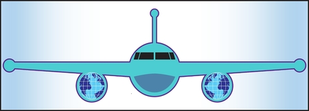 AIRLINER ICON color image of a passenger airliner on a white-blue background