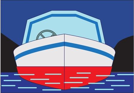 POWERBOAT motorschip van klein formaat op een donkerblauwe achtergrond