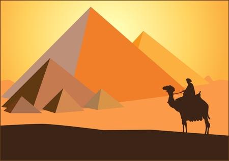 エジプトのピラミッドを背景にした砂漠のラクダに乗ったベドウィンとエジプトの PIRAMIDS ライダー  イラスト・ベクター素材
