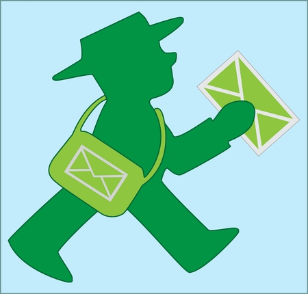 POSTMAN WITH A BAG silhouette of postman with bag and letter on blue background Ilustracja