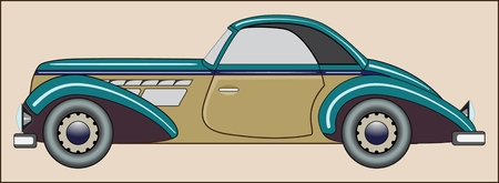 Vintage car color image of passenger car of the last century Ilustração