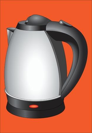 Electric kettle domestic appliance for boiling of water vector illustration Ilustração