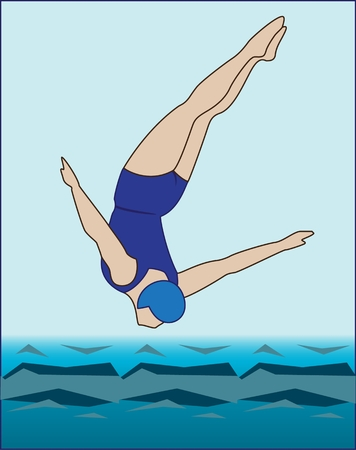 Diving colored image vector icon