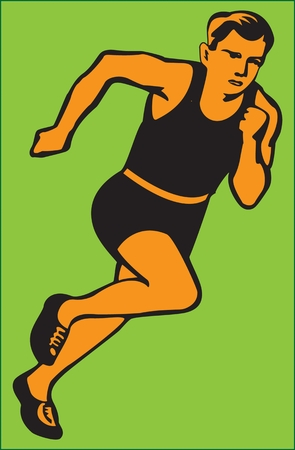 Runner colored abstract image on a green background