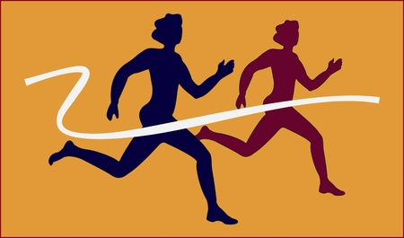 Runners abstract silhouette on yellow background
