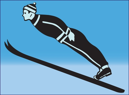 Colored image of a skier in blue background.