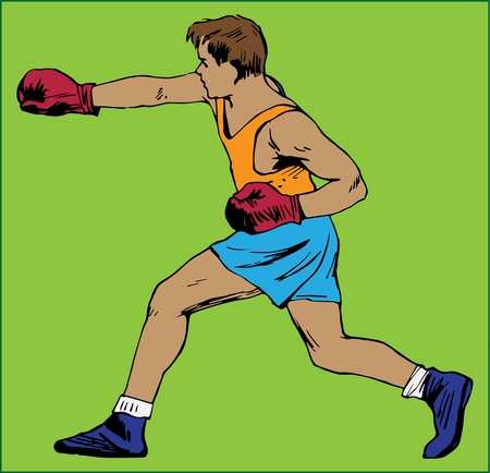 BOXER YOUNG MAN color image of a boxer with gloves on a green background Çizim
