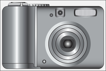CAMERA DEVICE black and white image of a digital device for photographing objects Ilustração