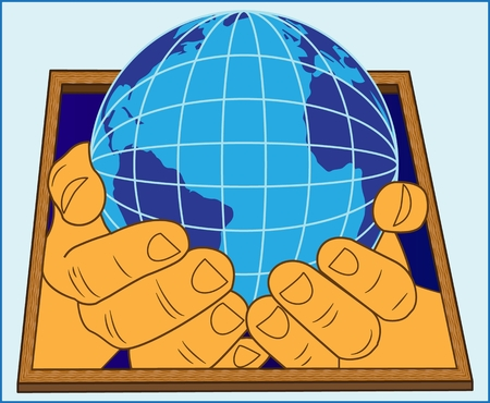 The globe in human hands, color abstract image of the globe in human hands