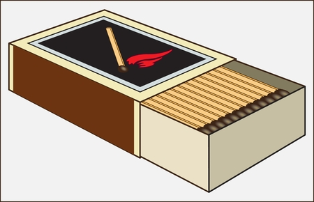MATCHES IN THE BOX ON A LIGHT BACKGROUND vector illustration Banco de Imagens - 92329241