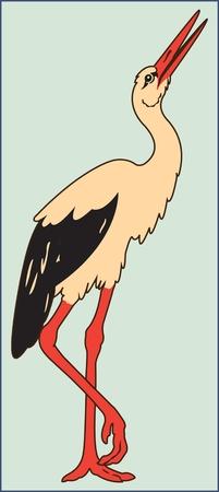 STORK BIRD ON THE GREEN BACKGROUND vector illustration