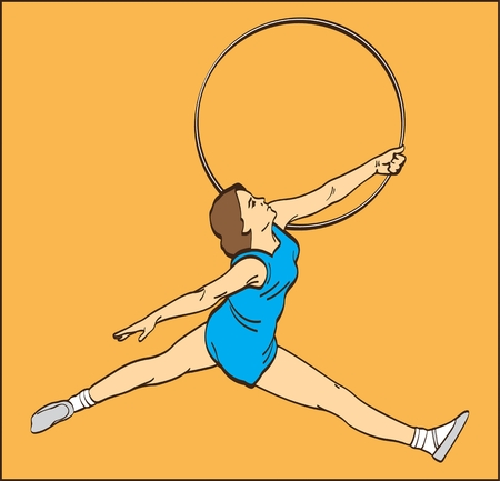 GYMNAST GIRL WITH A HOOP ON THE ORANGE BACKGROUND color image of a gymnast girl with a sport hoop on an orange background Ilustração