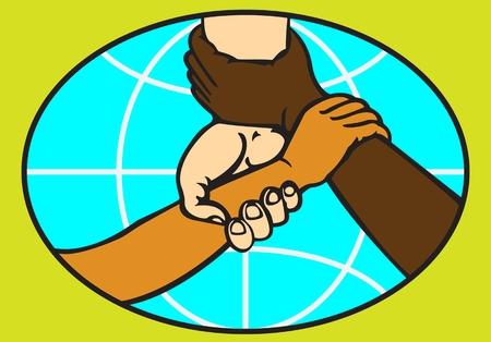 HANDSHAKE OP DE ACHTERGROND VAN EEN BOL gekleurd gestileerd abstract beeld van een mensenhanddruk met verschillende huidskleur op de achtergrond van een wereldbol Stock Illustratie