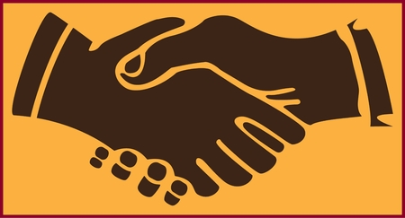 HANDSHAKE OP DE GELE ACHTERGROND gekleurd gestileerd abstract beeld van een mensenhanddruk op de gele achtergrond Stock Illustratie