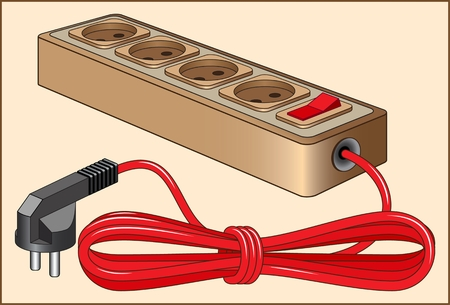 color image of an extension cord with a long wire and a plug on a beige background Reklamní fotografie - 94256319