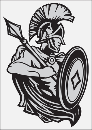 Knight in armor with a spear and shield  stylized black and white image of a medieval knight in armor with a spear and shield