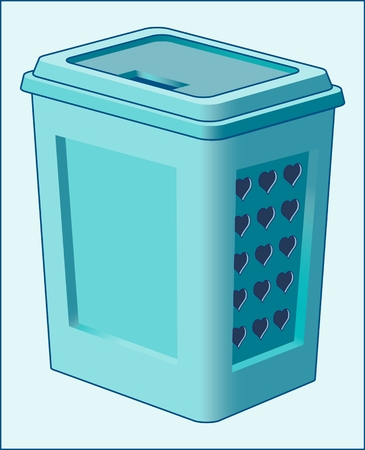 Basket for dirty clothes and linen. Image of a plastic container for storing things that need washing.