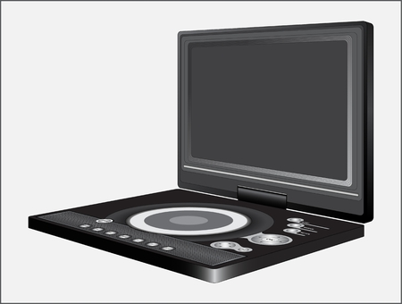 DVD player sample with light background. Electronic digital device for viewing video files, images and listening to audio files.