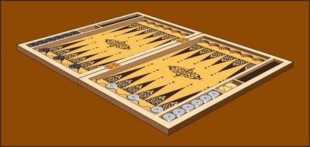 Backgammon game board on brown background. Vector illustration. Ilustração