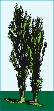 Trees plants colored stylized image of deciduous trees with green leaves on a blue background