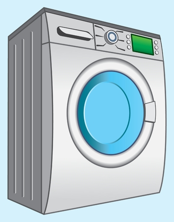 Washing machine sample color image of the device for washing clothes and linen. Vector illustration. Banco de Imagens - 96116674