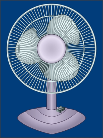 Fan sample color image of an electric household appliance for ventilation and air cooling. Ilustrace