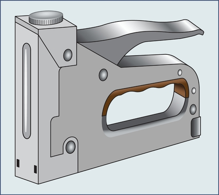 Construction stapler TOOL manual construction tools for fixing plywood and cardboard. Ilustração