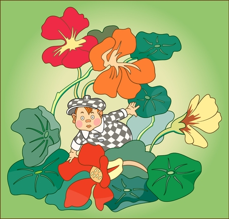 Child among flowers. Color image of a little boy in a checkered suit against a background of flowers