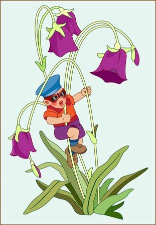 Color image of a little boy in a red jacket and hat on a background of flowers Ilustração