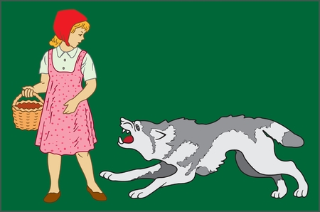 image of fairy-tale characters Little Red Riding Hood and Gray wolf on a dark green background Ilustração